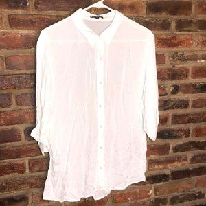 Express White Sheer Button Down Tunic Size Large